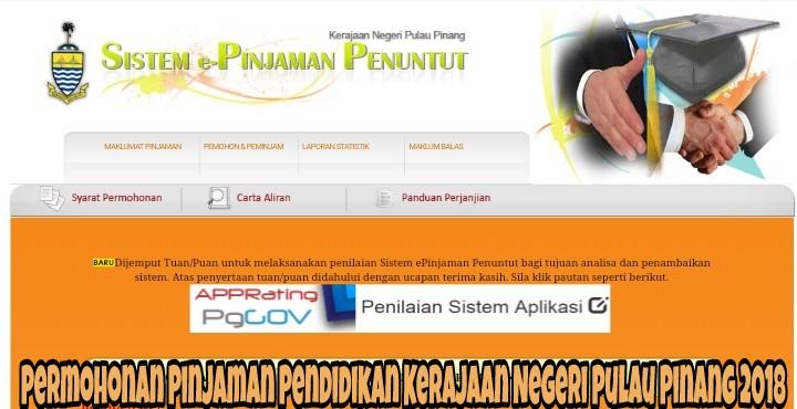 Permohonan Pinjaman Pendidikan Kerajaan Negeri Pulau Pinang 2018