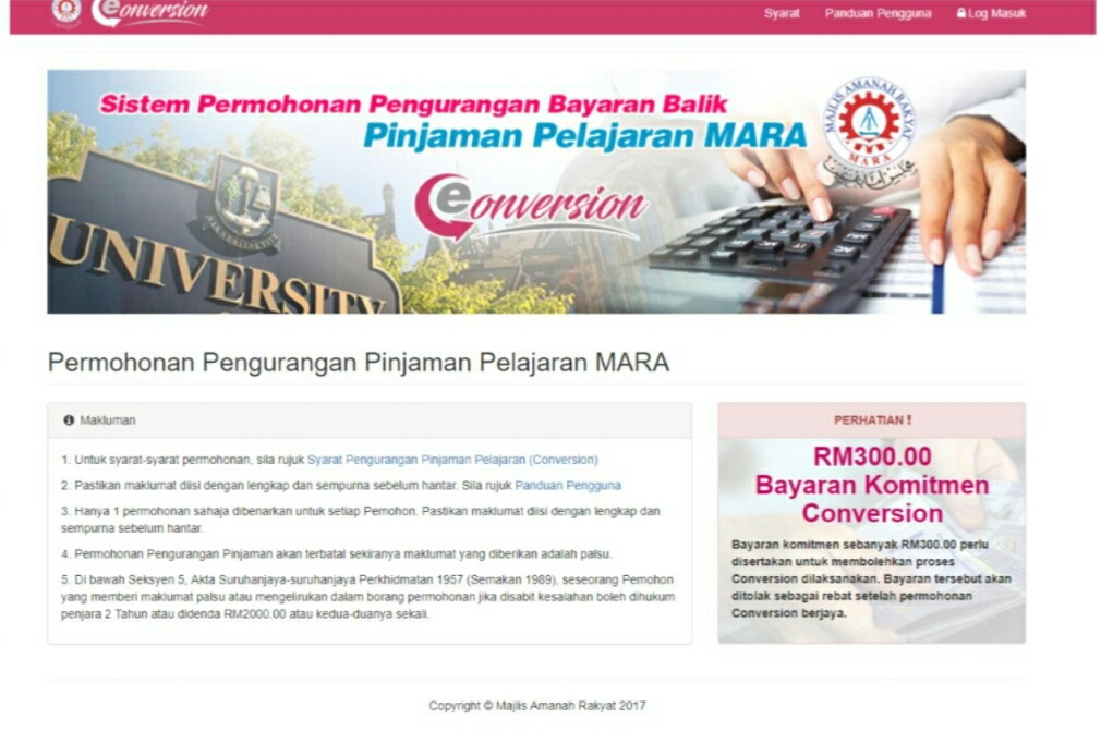 Permohonan Pengurangan Pinjaman Pelajaran MARA 2018 Online