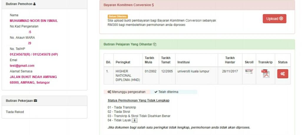 Permohonan Pengurangan Pinjaman Pelajaran MARA 2020 Online