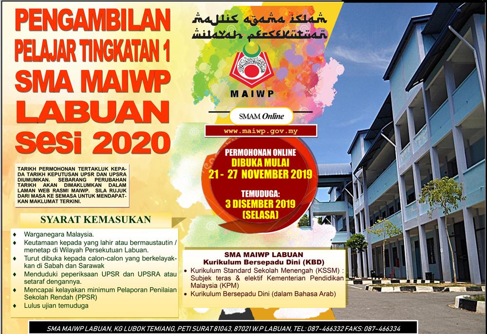 Permohonan SMA MAIWP 2020 Labuan (Tingkatan 1)