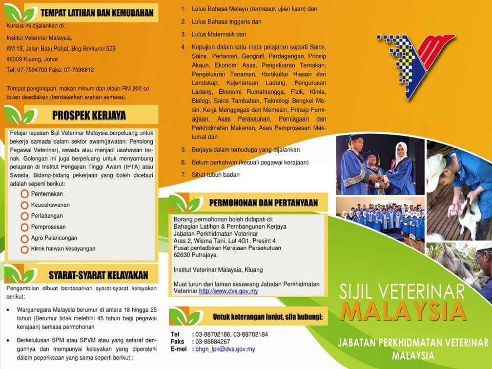 Permohonan Kursus Sijil Veterinar Malaysia 2020 /2021 Online (Borang)