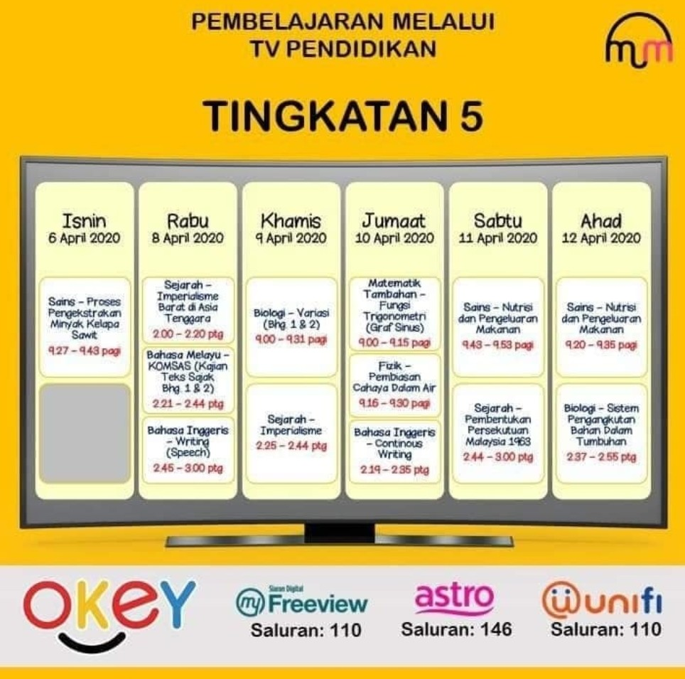 Jadual Program TV Pendidikan Untuk Pembelajaran UPSR, PT3 & SPM