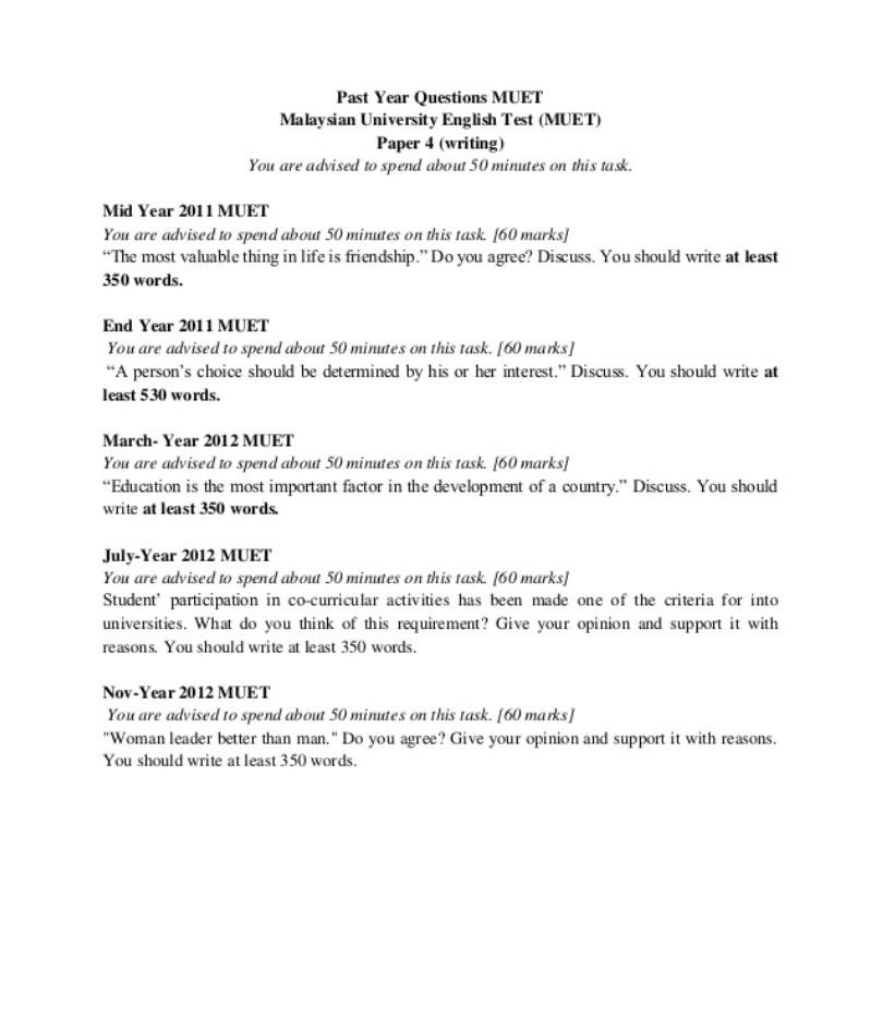 Contoh Soalan MUET Writing (Sample Question)