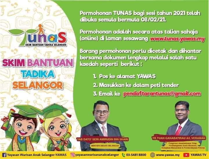 Permohonan Skim Bantuan Tadika Selangor TUNAS 2021 Online (Semakan Status)