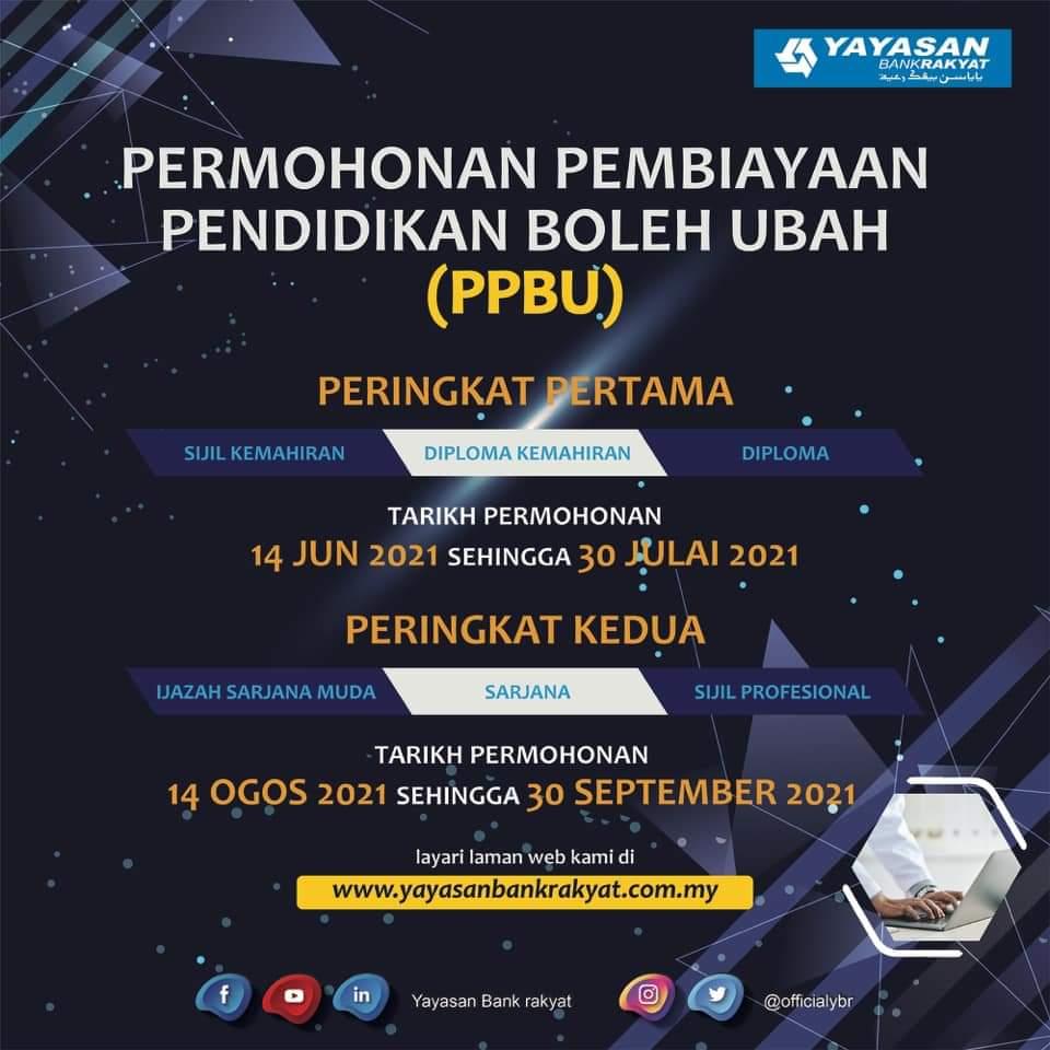 Permohonan Pembiayaan Pendidikan Boleh Ubah (PPBU) 2021 Bank Rakyat Online